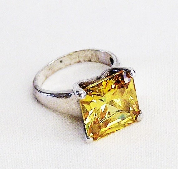 RESERVED Sterling Topaz Costume Ring