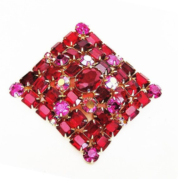 Red and Pink Extra Large Rhinestone Brooch