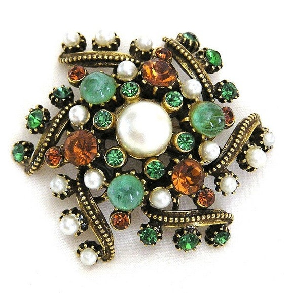 Florenza Green Amber and Pearl Brooch
