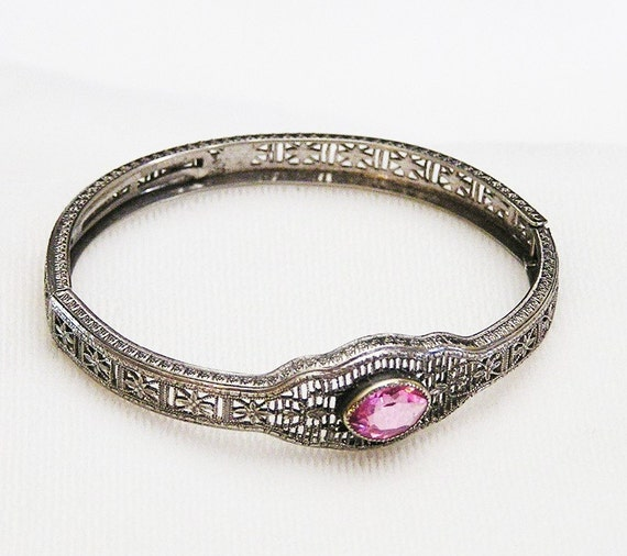 RMCO Signed Pink Filigree Bracelet