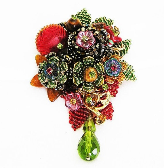 Stanley Hagler Ian St Gielar Jeweled Flower Brooch