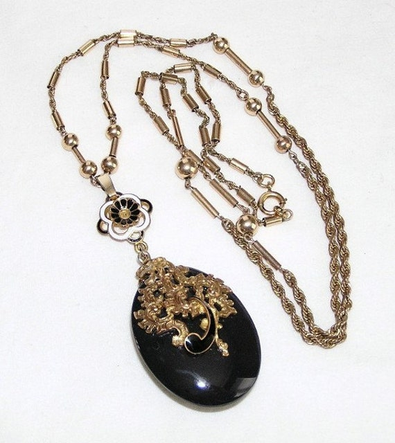 Victorian Black Glass and Enamel Necklace