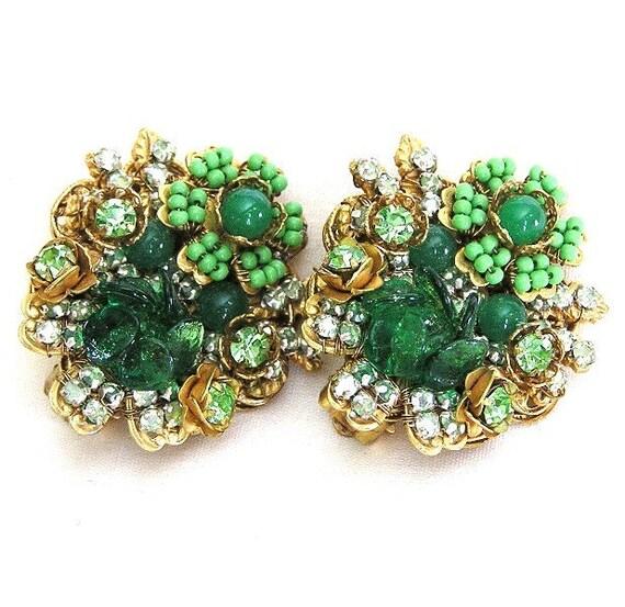 Stanley Hagler Green Floral Earrings
