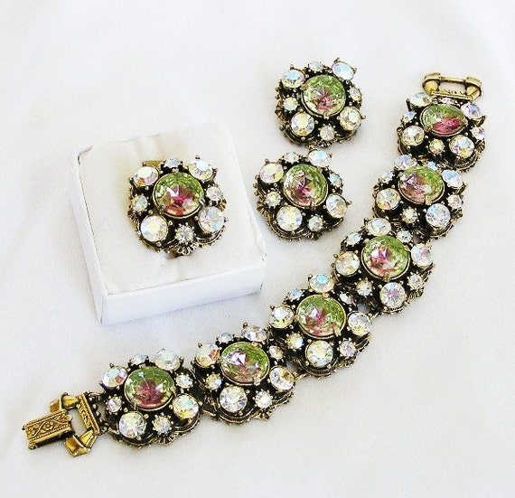Florenza Green Watermelon and Clear Parure