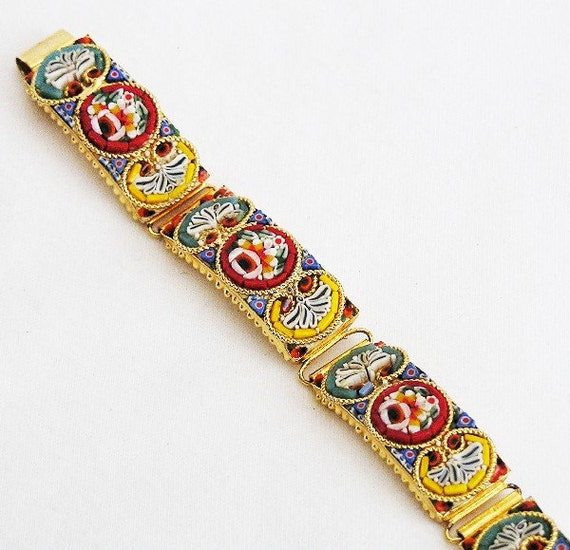 Mosaic Italy Bracelet Yellow Red and Teal