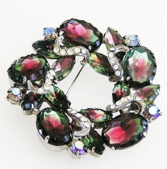 Large Tourmaline Green and Pink Brooch