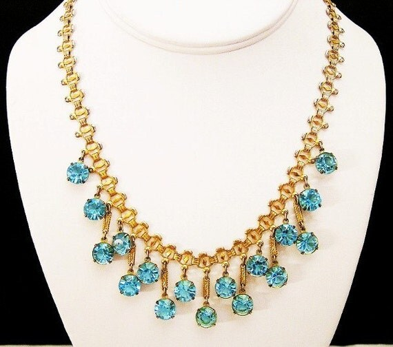 Austria Crystal Necklace Topaz Blue