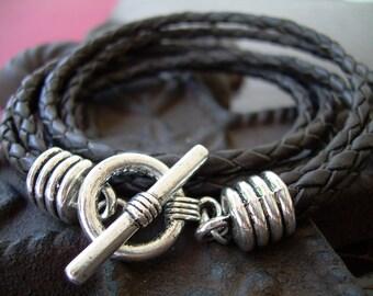 Mens Leather Bracelet, Triple Strand, Double Wrap,  Mens Bracelet, Mens Jewelry, Leather Bracelet, Black Braided