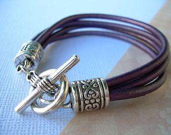 Purple Leather Bracelet,  Leather Bracelet, Womens Leather Bracelet, Gift For Her, Purple Gift, Womens Bracelet, Womens Jewelry, Jewelry