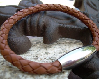 Mens Leather Bracelet with Stainless Steel Magnetic Clasp, Braided Saddle Color, Mens Jewelry, Mens Bracelet
