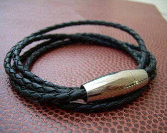 Double Black Braid Double Wrap Mens Leather Bracelet with Stainless Steel Magnetic Clasp, Leather Bracelet, Mens Bracelet, Mens Jewelry