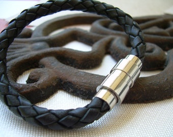 Black Braided Mens Leather Bracelet with Stainless Steel Magnetic Clasp, Mens Jewelry, Mens Bracelet, Mens Gift, Leather Jewery, Leather