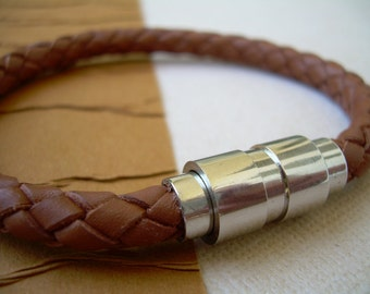 Saddle Braided Mens Leather Bracelet with Stainless Steel Magnetic Clasp, Leather Bracelet, MensBracelet, Mens Jewelry, Fathers Day