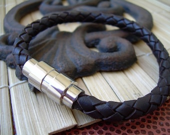 Brown Braided Mens Leather Bracelet with Stainless Steel Magnetic Clasp, Mens Bracelet, Mens Jewelry, Leather Bracelet, Gift for him