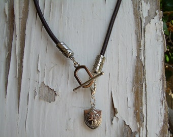 Brown Leather Necklace Mens / Unisex  - With Free Lobster Clasp Pendant