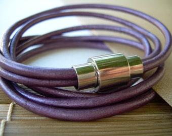 Leather Bracelet, Purple Leather Wrap Bracelet, Magnetic Clasp Bracelet, Womens Bracelet, Womens Jewelry, Womens Gift, Womens, For Her