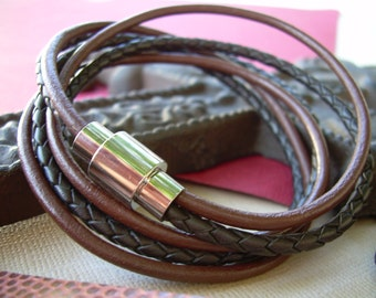 Chocolate and Brown Braid Triple Wrap Leather Bracelet with Stainless Steel Magnetic Clasp, Leather Bracelet, Wrap Bracelet, Mens Bracelet,