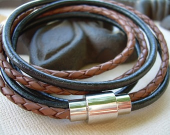 Mens  Leather Bracelet with Stainless Steel Magnetic Clasp Triple Wrap Black and Saddle Braid, Fathers Day Gift, Mens Bracelet, Mens Jewelry