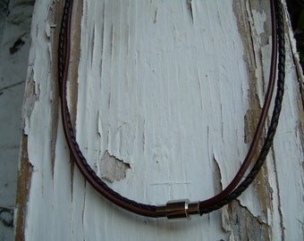 Mens Leather Necklace, Mens Necklace, Mens Jewelry, Mens Gift, Groomsmen Gift, Stainless Steel Magnetic Clasp, Chocolate and Brown Braid,