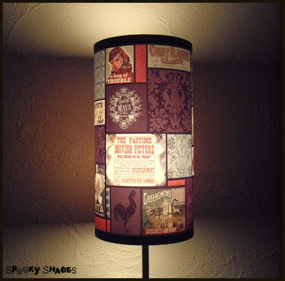 Just Like Mom's Lamp Shade - small - bohemian decor, vintage advertising,brown lamp,boho, patchwork lampshade, french decor, retro lampshade