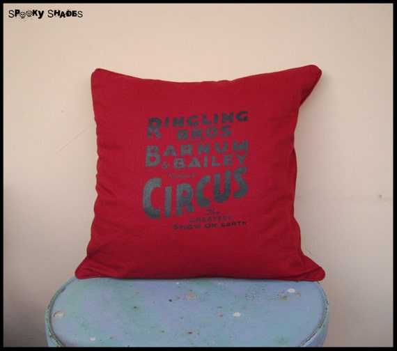 """Circus Sideshow red 20"""" x 20"""" throw pillow cover"""