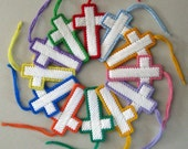 2 Colorful Christian Cross Decorations plastic canvas