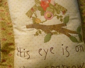 Hand Appliqued Bird and Birdhouse, Embroidered Pillow- OOAK- ofg