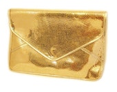 On Sale, Gold Leather clutch, Gold Purse, Bridal Clutch, Fold over clutch, Gold Envelope Clutch,