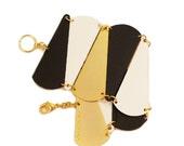On Sale! Black White and Gold bracelet, TRI color Bracelet, Triangle Flexible Bracelet, Geometric Bracelet, Bridal Jewelry,