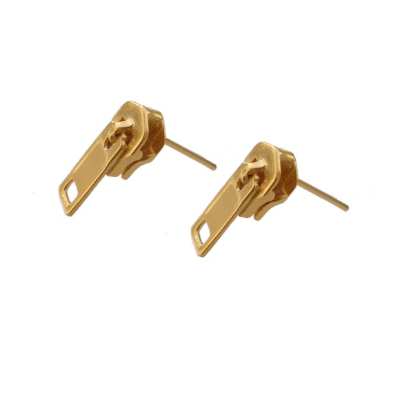 Zipper Earrings posts In Gold, Free Shipping