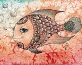 Miss Fish 2, 5x7 Fine Art Print