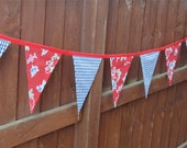 Red and Blue Fabric Banner Bunting