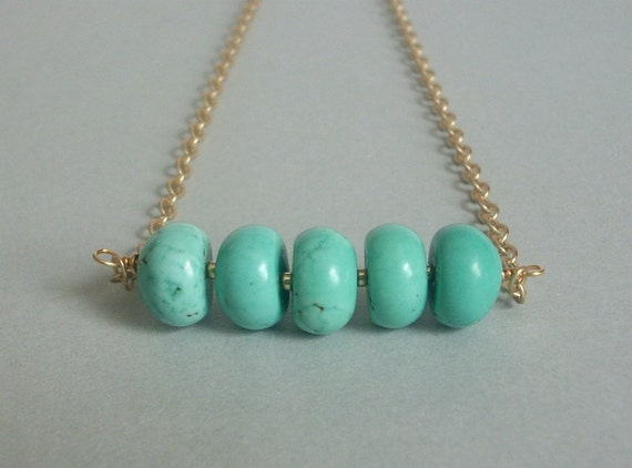 14K Yellow Gold Plated Necklace with Satin Finish and Blue Green Magnesite Gemstones - Distance