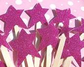 Cupcake Toppers - Set of Ten (10 Pink Glitter Star  Cupcake Toppers - Cake Toppers - STR10