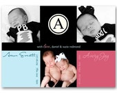 Birth Announcement - Three Photo Gallery - a printable announcement for your twins