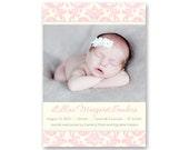 Birth Announcement, Baby Girl, Damask - a printable photo card. (No. 11001)