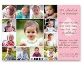 """Photo Collage Birthday Invitation, Bday Invite - """"One Little Candle"""" - a printable photo collage of your baby's first year. (No. 21001)"""