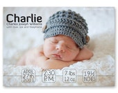 Birth Announcement, Baby Girl or Boy, Sleek and Modern - a printable photo card. (No. 11003)