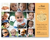 Little Pumpkin First Birthday Invitation - a photo collage of your baby's first year (No. 21003)