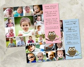 Guess Whooo's Turning One, Owl Themed Photo Collage First Birthday Invitation - a printable photo card (No. 21013)