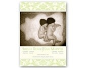 Damask Twins Birth Announcement, Baby Girl or Boy - a printable photo card for multiples.