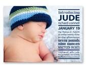 Birth Announcement, Baby Girl or Boy, Modern Subway Art - a printable photo card. (No. 11016)