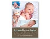 Birth Announcement, Baby Girl or Boy, 4 Photo Gallery Card - a printable photo card. (no. 11017)
