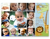 Jungle Safari First Birthday Invitation - a photo collage of your baby's first year (No. 21007)