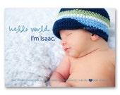 "Birth Announcement - ""Hello World"" - a printable photo card (No. 11023)"