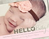 """Birth Announcement - """"Hello Sweetheart"""" - a printable photo card to announce your little one's arrival. (No. 11025)"""