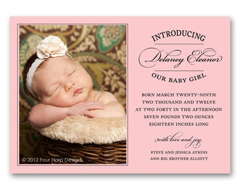 Birth Announcement, Vintage Inspired - a printable photo card for your baby girl (No. 11012)
