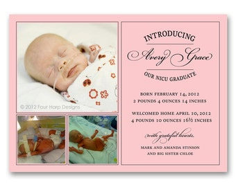 Preemie Birth Announcement, Vintage Inspired - a printable photo card for your NICU grad (No. 12014)