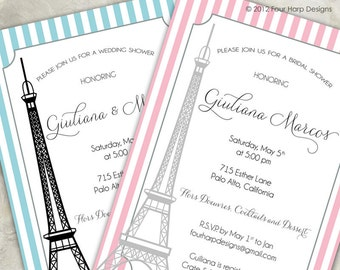 Paris Themed Shower Invitation - a printable photo card featuring the Eiffel Tower