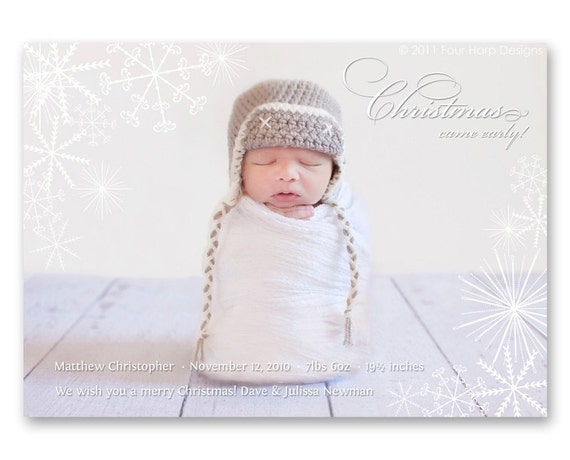 Items similar to Holiday Birth Announcement Christmas Came – Holiday Birth Announcements